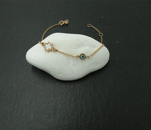 Χρυσό βραχιόλι Κ14 (ματάκι - σταυρός) από σμάλτο - Κοσμήματα ... 3b78fd0a6c0