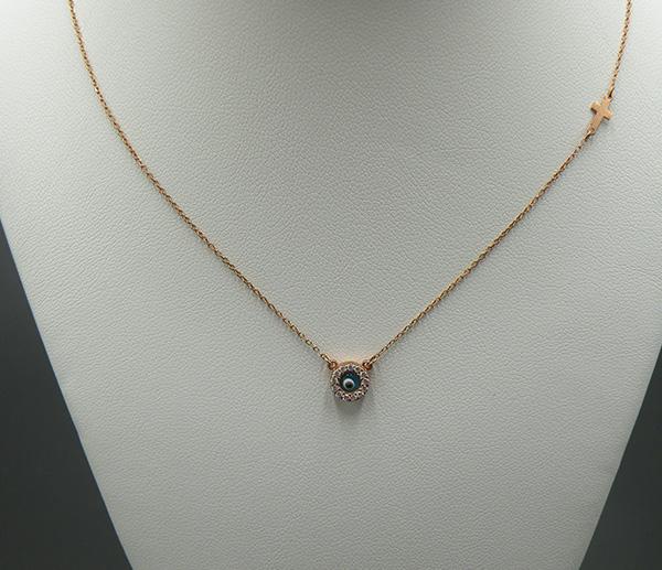 Ροζ - Χρυσό κολιέ Κ14 (στρογγυλό ματάκι με σταυρό) - Κοσμήματα ... efe317bbac8