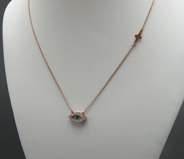 Ροζ – Χρυσό κολιέ Κ14 (ματάκι – σταυρός μικρό μέγεθος διπλή όψη) 1b51eb223ee