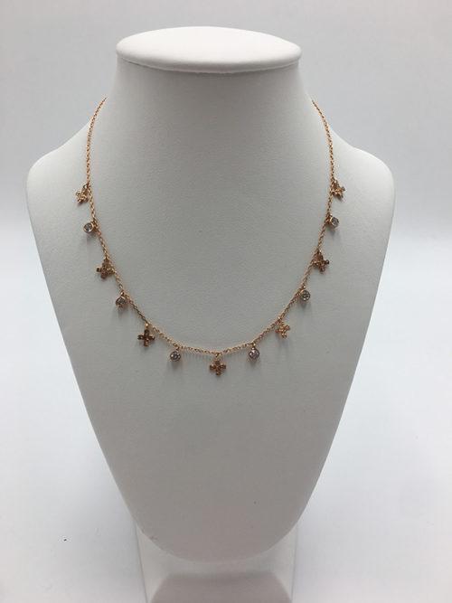 Ασημένιο ροζ επιχρυσωμένο κολιέ 925° με σταυρούς και ζιργκόν-κοσμήματα μαμόγλου Αθήνα.