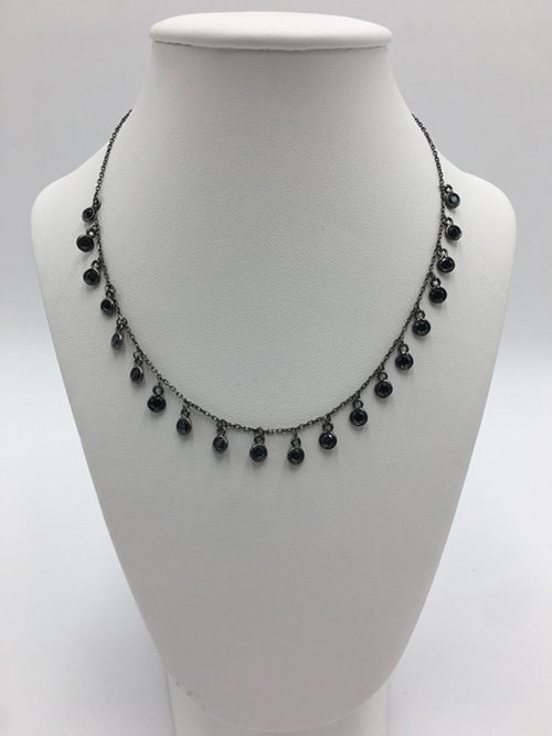 Ασημένιο μαύρο επιπλατινωμένο κολιέ 925° με ζιργκόν-κοσμήματα μαμόγλου Αθήνα.