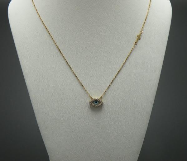 Χρυσό κολιέ Κ14 (ματάκι - σταυρός μικρό μέγεθος) - Κοσμήματα ... 2e7434024d9