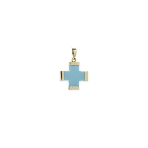 Γαλάζιος σταυρός μεγάλος Κ14-1-κοσμήματα μαμόγλου Αθήνα