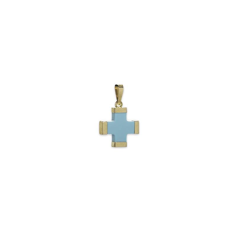 Γαλάζιος σταυρός μικρός Κ14-1-κοσμήματα μαμόγλου Αθήνα