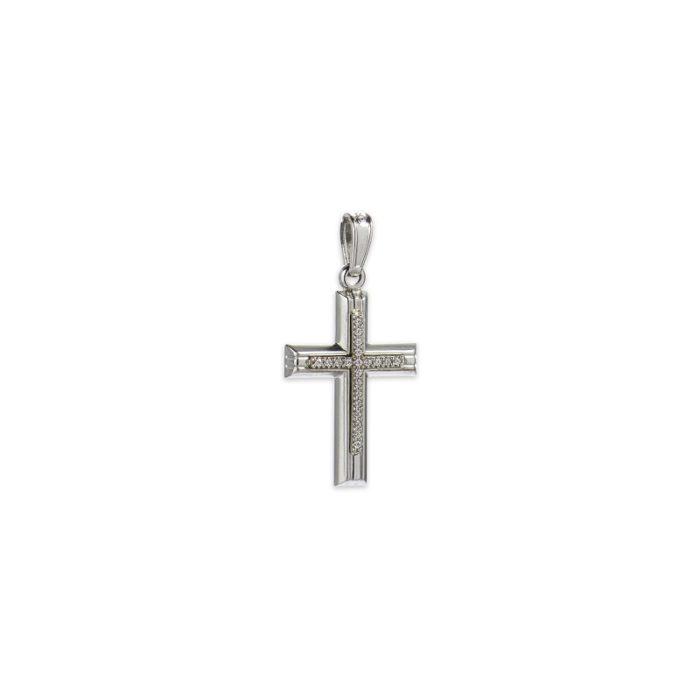 Λευκόχρυσος σταυρός Κ14-10-κοσμήματα μαμόγλου Αθήνα