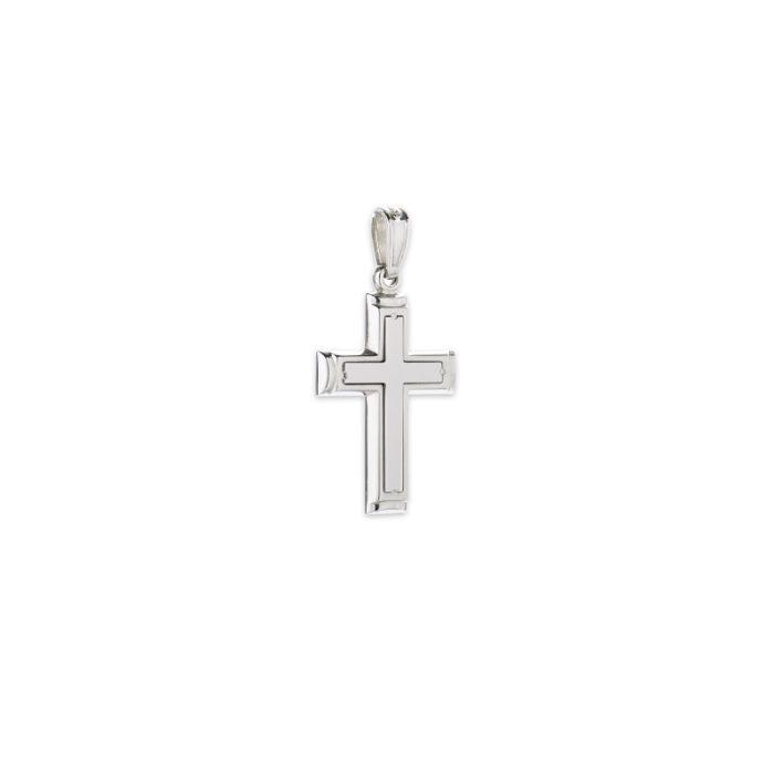 Λευκόχρυσος σταυρός Κ14-2-κοσμήματα μαμόγλου Αθήνα