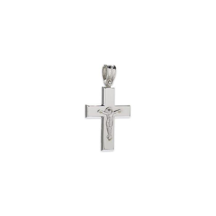 Λευκόχρυσος σταυρός Κ14-5-κοσμήματα μαμόγλου Αθήνα