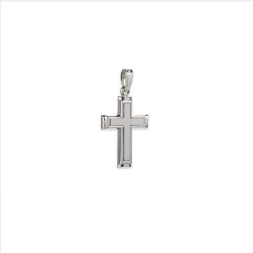 Λευκόχρυσος σταυρός Κ14-9-κοσμήματα μαμόγλου Αθήνα