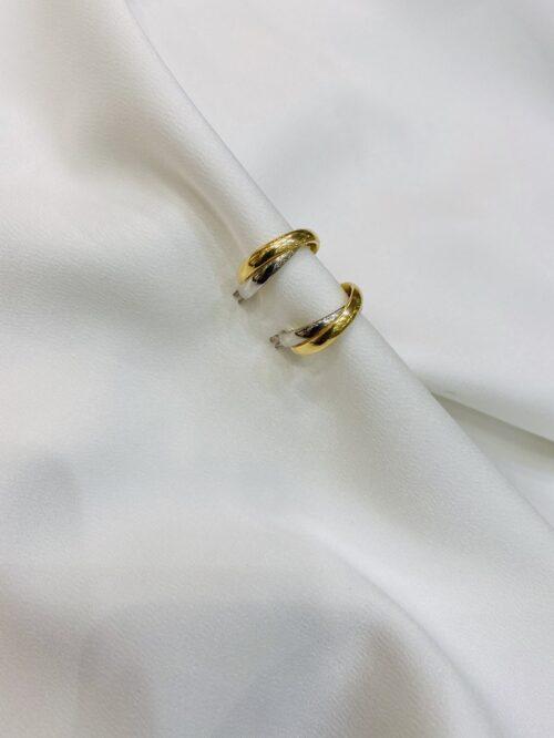 Ασημένιοι δίχρωμοι κρίκοι 925-κοσμήματα μαμόγλου Αθήνα