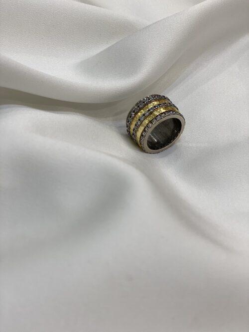 Aσημένιο επιχρυσωμένο δαχτυλίδι με ζιργκόν-κοσμηματα μαμογλου αθηνα