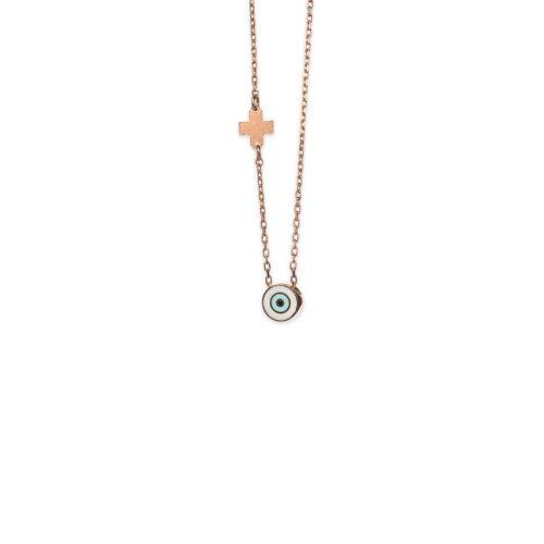 Ασημένιο ροζ επιχρυσωμένο κολιέ -2-.Κοσμήματα Μαμόγλου Αθήνα
