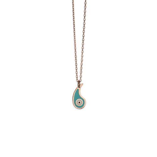Ασημένιο ροζ επιχρυσωμένο κολιέ-3-.Κοσμήματα Μαμόγλου Αθήνα