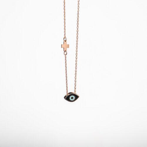 Ασημένιο ροζ επιχρυσωμένο κολιέ-4-.Κοσμήματα Μαμόγλου Αθήνα