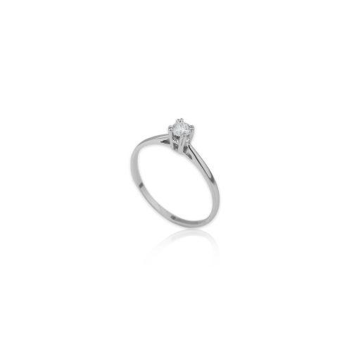 Λευκόχρυσο μονόπετρο Κ18-016-κοσμήματα μαμόγλου Αθήνα