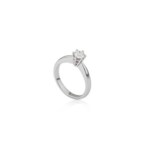 Λευκόχρυσο μονόπετρο Κ18-041-κοσμήματα μαμόγλου Αθήνα