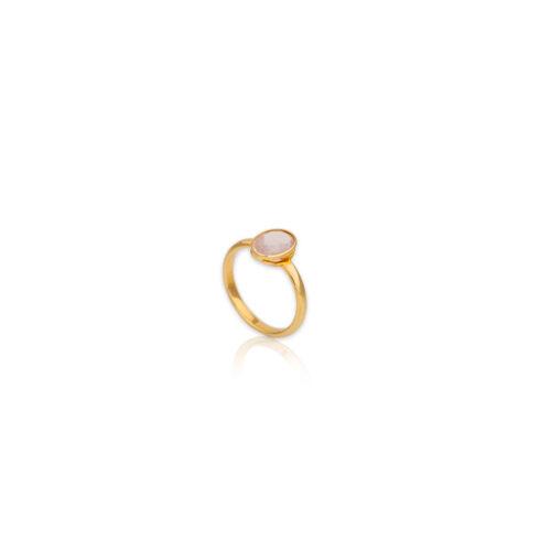 Χρυσό δαχτυλίδι με λευκό ζιργκόν Κ14-112-κοσμήματα μαμόγλου Αθήνα
