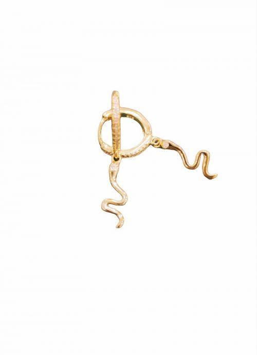 Ασημένια επιχρυσωμένα 925 κρικάκια με φίδι-κοσμήματα μαμόγλου αθήνα-στη σωστή τιμή και ποιότητα
