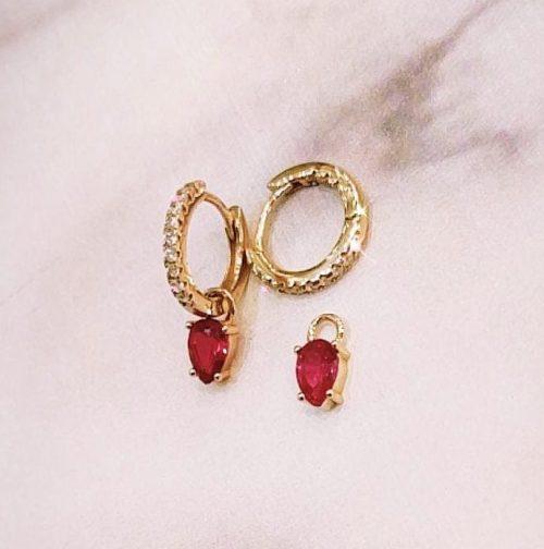 Ροζ επιχρυσωμένα κρικάκια 010-Κοσμήματα Μαμόγλου αθήνα