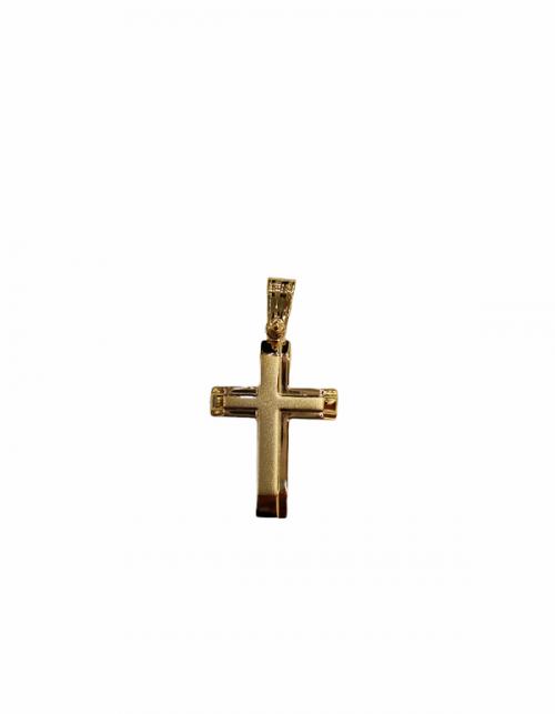 Χρυσός σταυρός Κ14 μισός ματ-κοσμήματα μαμόγλου αθήνα