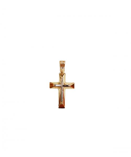 Χρυσός σταυρός δίχρωμος Κ14 -κοσμήματα μαμόγλου αθήνα