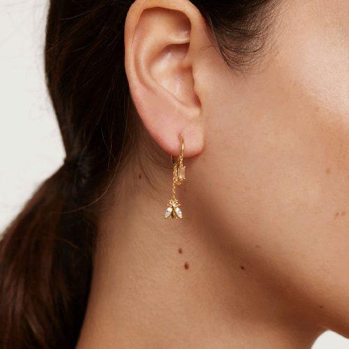 Ασημένια επιχρυσωμένα σκουλαρίκια breeze gold-a-κοσμήματα Μαμόγλου Αθήνα