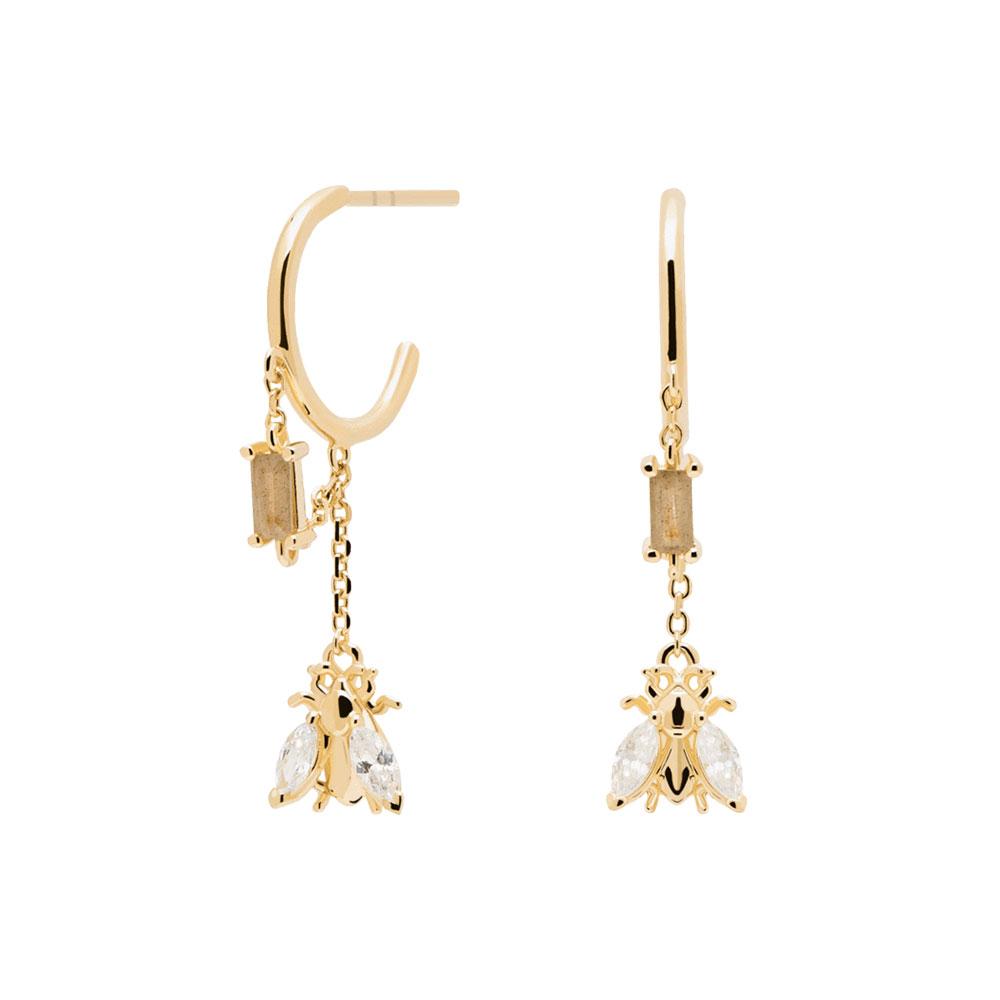 Ασημένια επιχρυσωμένα σκουλαρίκια breeze gold-b-κοσμήματα Μαμόγλου Αθήνα