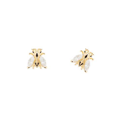 Ασημένια επιχρυσωμένα σκουλαρίκια buzz gold-b-κοσμήματα Μαμόγλου Αθήνα