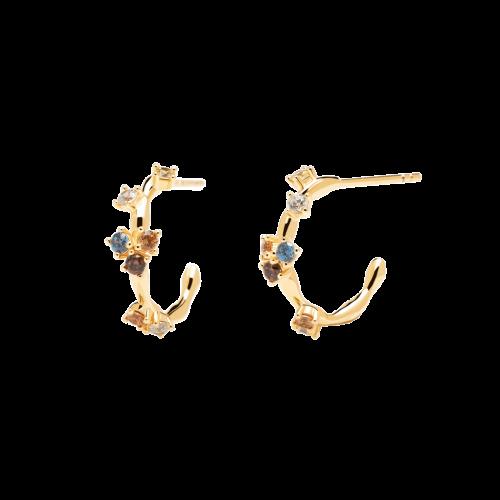 Ασημένια επιχρυσωμένα σκουλαρίκια five gold-b-κοσμήματα Μαμόγλου Αθήνα
