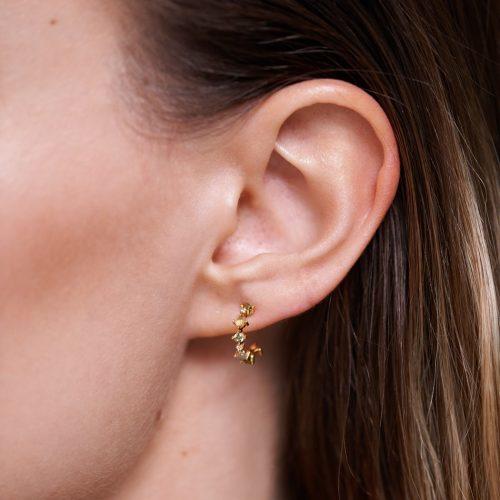 Ασημένια επιχρυσωμένα σκουλαρίκια glory-a-κοσμήματα Μαμόγλου Αθήνα