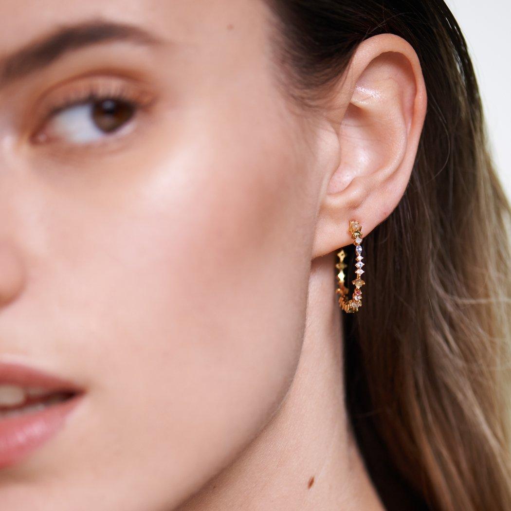 Ασημένια επιχρυσωμένα σκουλαρίκια halo earrings-a-κοσμήματα Μαμόγλου Αθήνα
