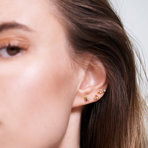 Ασημένια επιχρυσωμένα σκουλαρίκια la palette set-a-κοσμήματα Μαμόγλου Αθήνα