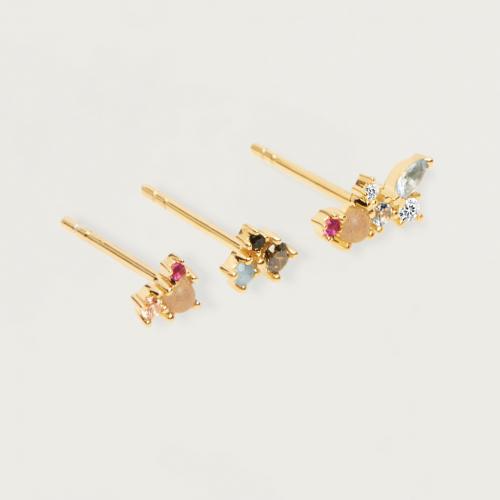Ασημένια επιχρυσωμένα σκουλαρίκια la palette set-b-κοσμήματα Μαμόγλου Αθήνα