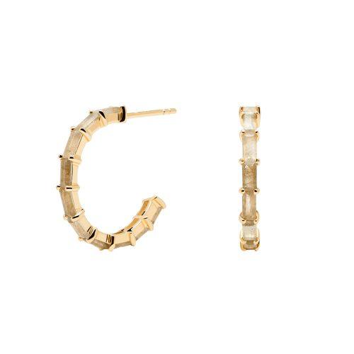 Ασημένια επιχρυσωμένα σκουλαρίκια pistil gold-a-κοσμήματα Μαμόγλου Αθήνα