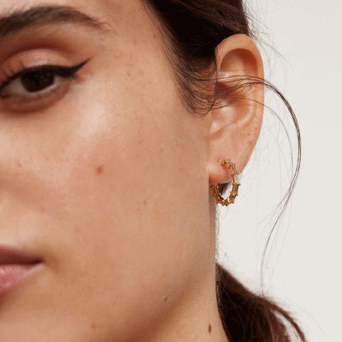 Ασημένια επιχρυσωμένα σκουλαρίκια pistil gold-b-κοσμήματα Μαμόγλου Αθήνα