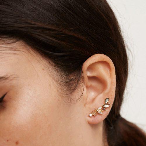 Ασημένια επιχρυσωμένα σκουλαρίκια revery gold-a-κοσμήματα Μαμόγλου Αθήνα