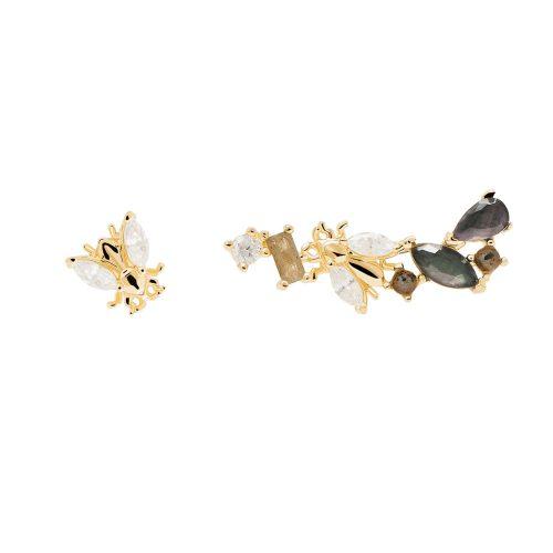 Ασημένια επιχρυσωμένα σκουλαρίκια revery gold-b-κοσμήματα Μαμόγλου Αθήνα