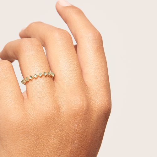 Ασημένιο επιχρυσωμένο βεράκι mint bird ring-b-κοσμήματα Μαμόγλου
