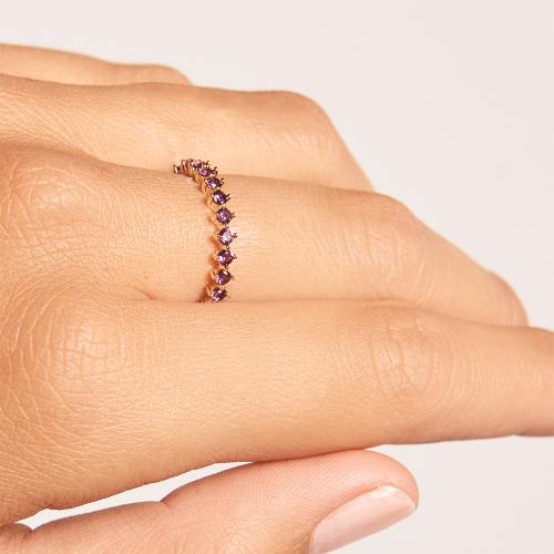 Ασημένιο επιχρυσωμένο βεράκι violet bird ring-b-κοσμήματα Μαμόγλου
