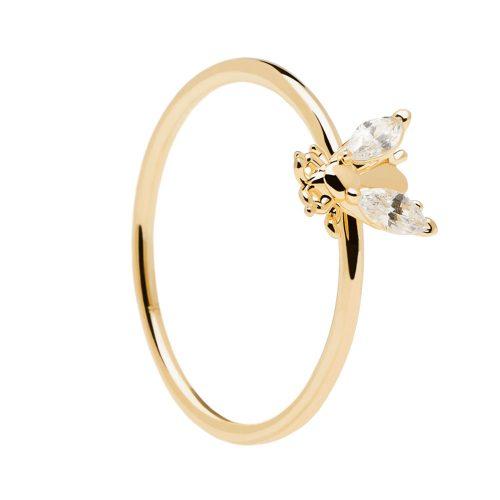Ασημένιο επιχρυσωμένο δαχτυλίδι buzz gold ring -a-κοσμήματα Μαμόγλου