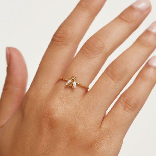 Ασημένιο επιχρυσωμένο δαχτυλίδι buzz gold ring -b-κοσμήματα Μαμόγλου