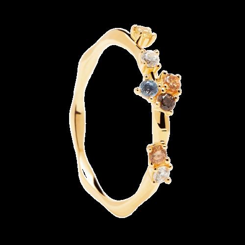 Ασημένιο επιχρυσωμένο δαχτυλίδι five gold ring -a-κοσμήματα Μαμόγλου (2)