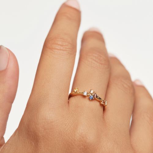 Ασημένιο επιχρυσωμένο δαχτυλίδι five gold ring -b-κοσμήματα Μαμόγλου