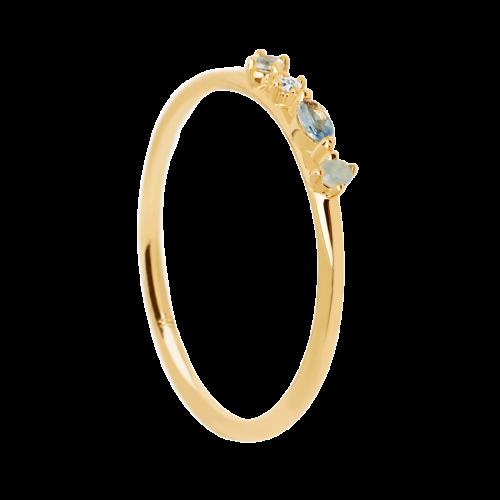 Ασημένιο επιχρυσωμένο δαχτυλίδι midnight blue ring -a-κοσμήματα Μαμόγλου
