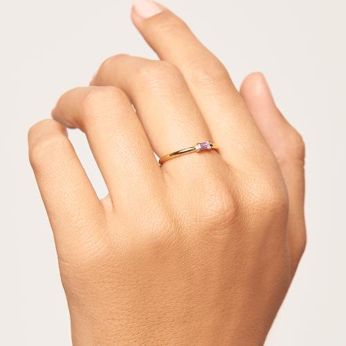 Ασημένιο επιχρυσωμένο δαχτυλίδι purple amani ring -b-κοσμήματα Μαμόγλου