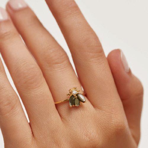 Ασημένιο επιχρυσωμένο δαχτυλίδι zaza gold ring -b-κοσμήματα Μαμόγλου