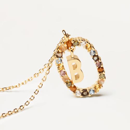 Ασημένιο επιχρυσωμένο κολιέ-Β-κοσμήματα Μαμόγλου