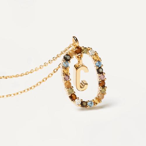 Ασημένιο επιχρυσωμένο κολιέ-C-κοσμήματα Μαμόγλου