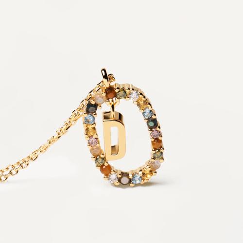 Ασημένιο επιχρυσωμένο κολιέ-D-κοσμήματα Μαμόγλου