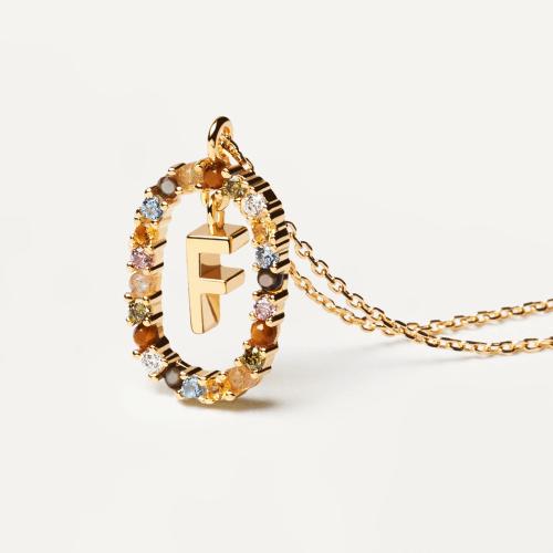 Ασημένιο επιχρυσωμένο κολιέ-F-κοσμήματα Μαμόγλου