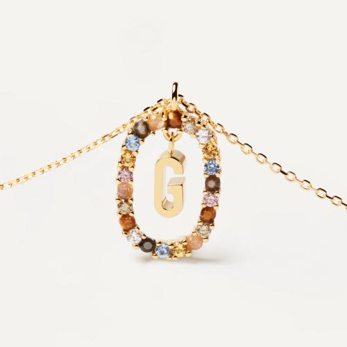 Ασημένιο επιχρυσωμένο κολιέ-G-κοσμήματα Μαμόγλου